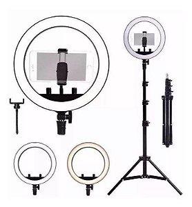 """Iluminador Ring Light 10"""" com controle de cor Tripé 2,10m"""