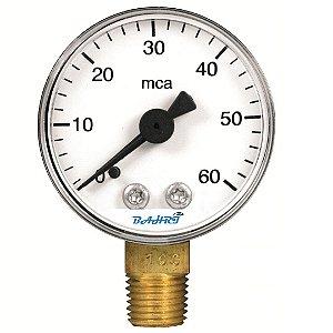 """Manômetro - 0...60 mca - 1/4"""" GAS - Saída por baixo"""