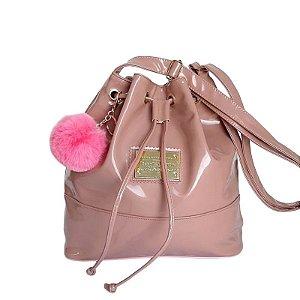 Bolsa Saco Feminino Verniz Metalizado Alça Tiracolo - Rosê