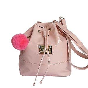 Bolsa Saco Feminino Verniz Metalizado Alça Tiracolo - Rosê Claro