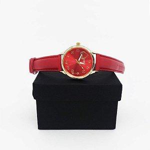 Relógio Feminino Pulseira Couro - Vermelho Dourado