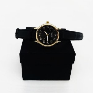 Relógio Feminino Pulseira Couro - Preto Dourado Preto