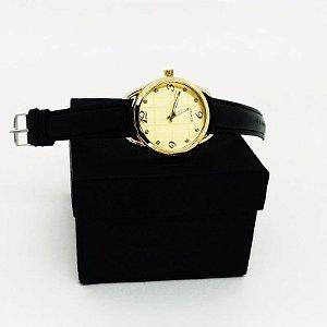 Relógio Feminino Pulseira Couro - Preto Dourado