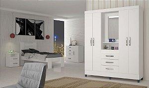Guarda roupa Moval Capri flex 4 Portas 3 Gavetas c/ Espelho