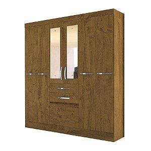 Guarda roupa Moval Mafra 6 portas 2 gavetas com espelho