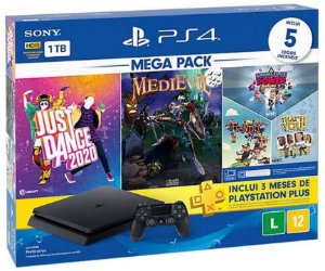 Console PlayStation 4 Slim 1TB + 3 Jogos + 3 Meses Playstation Plus (Mega Pack 11) - Sony