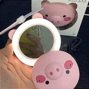 Espelho Led Para Maquiagem Portátil Ventilador Porquinho
