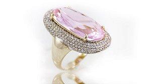 Anel Folheado Cravejado Pedra Cristal Rosa - 381