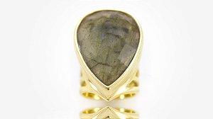 Anel Folheado Pedra Labradorita - 361