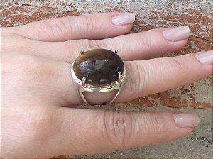 Anel Prata Pedra Olho de Tigre - 395