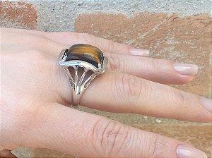 Anel Prata Pedra Olho de Tigre - 399