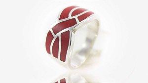 Anel Prata Pedra Coral Vermelho - 11656