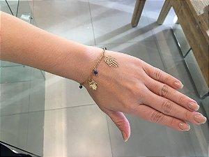 Pulseira Folheada Mão de Fátima Pedra Sodalita - 1157202040