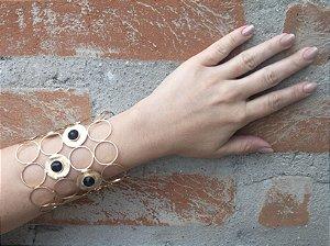 Bracelete Folheado Pedra Ágata Preta - 360