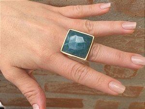 Anel Folheado com Pedra Quartzo Azulado - 375