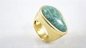 Anel Folheado com Pedra Amazonita Verde - 374