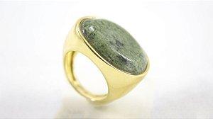 Anel Folheado com Pedra Jaspe Verde - 376