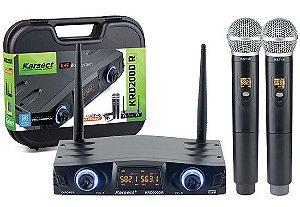 Microfone de Mão Sem Fio Karsect - KRD200DR - 2 Bastões