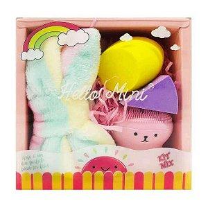 Kit de esponjas, tiara e escova facial - Hello Mini