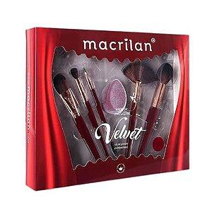 Kit de pincéis com esponja Velvet Vermelho - Macrilan