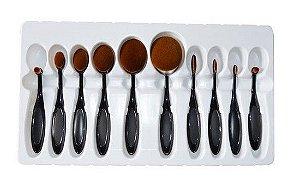 Kit com 10 Escovas para Maquiagem