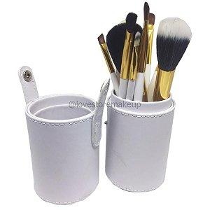 Kit com 12 Pincéis Branco e Dourado + Case