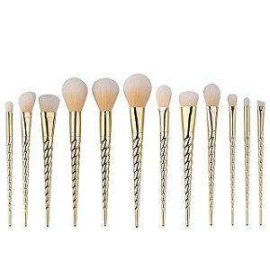 Kit com 12 Pincéis dourado de Unicórnio