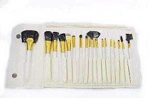 Kit com 18 Pincéis Branco e Dourado