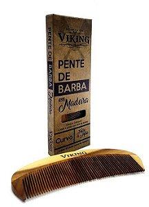 Pente de Barba  em madeira curvo - Viking