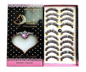 Caixa 10 pares cílios postiços  K25 - Miss Frandy