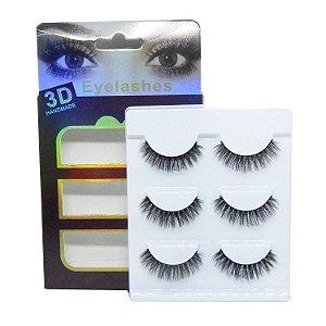Caixa 3 pares cílios postiços Premium 3D F014