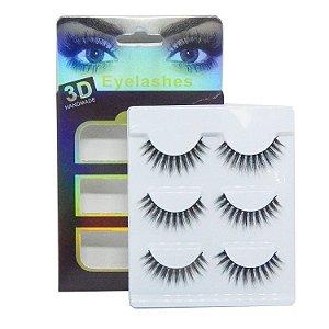 Caixa 3 pares cílios postiços Premium 3D F035