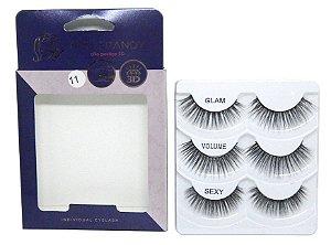 Caixa 3 pares cílios postiços Glam #11 - Miss Frandy
