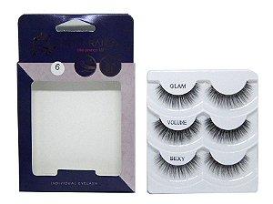 Caixa 3 pares cílios postiços Glam 3D #6 - Miss Frandy