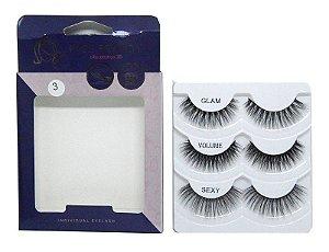 Caixa 3 pares cílios postiços Glam 3D #3 - Miss Frandy
