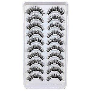 Caixa 10 pares de cílios postiços naturais #3D54