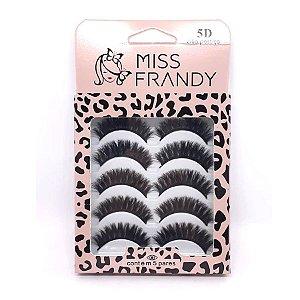 Caixa com 5 pares de cílios postiços 5D 0612 - Miss Frandy