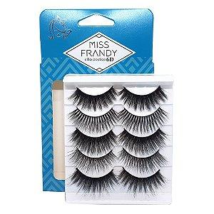 Caixa 5 pares cílios Postiços Variados 3D - Miss Frandy