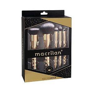 Kit com 5 pincéis Precious Gold ED006 - Macrilan