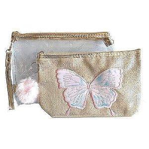 Kit com 2 necessaires borboleta e transparente - Miss Frandy