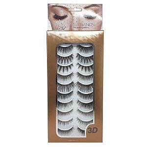 Kit com 10 pares cílios postiços variados - Miss Frandy