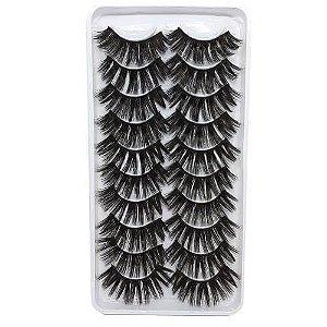 Caixa 10 pares de cílios postiços 3D112