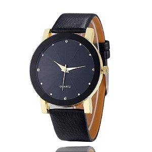 Relógio Luxo Dourado Feminino Casual Pulseira de Couro Sport Preto InTimes