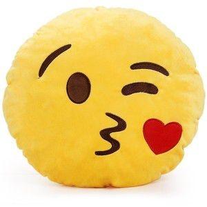 Almofada Emoticon Emoji Oficial Antialérgica Beijinho Coração 33cm