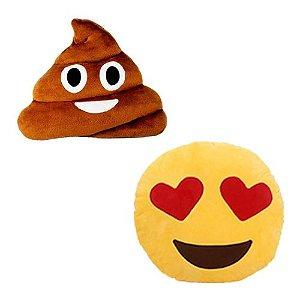 Kit 2 Almofadas Emoji Apaixonado + Cocozinho 33cm