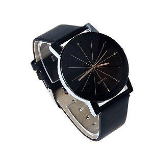 Relogio Luxo Fashion Prisma Diamante Pulseira de Couro Preto