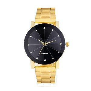 Relógio Feminino Luxo Dourado Brilhante Pulseira Metal InTimes