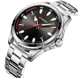 Relógio Masculino Curren Royal Silver Black Masculino Analógico Preto 8320
