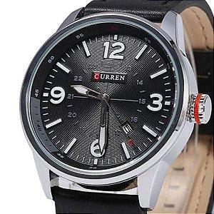Relógio Masculino Curren Sport Date Preto Couro Legitimo 8215