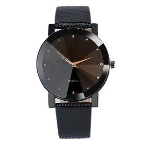 Relógio Masculino Ponteiros Dourados Brilhantes Elegante Sport Couro InTimes